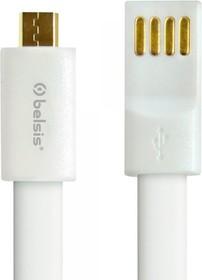 Фото 1/2 BS1006, Шнур USB A- Micro USB, плоский 1 м, белый