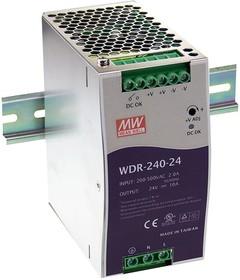 Фото 1/3 WDR-240-24, Блок питания, вход:1-2х фазное 180-550В, выход 24В,10А,240Вт