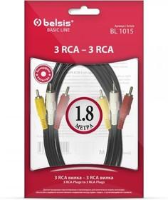 Фото 1/2 SP1015 (BL1015), Кабель 3RCA - 3RCA, видео-стерео-аудио, 1.8м
