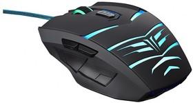 Мышь OKLICK 745G LEGACY оптическая проводная USB, черный и голубой [mw-1301]