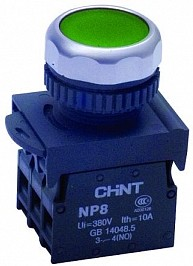 NP8-10BN/3, Кнопка без фиксации зеленая ON-(OFF)
