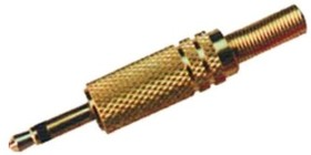 KLS1-PLG-002-3.5-G, Штекер аудио 3.5мм моно, металлический корпус