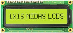 MC11606A6WK2-SPR, Буквенно-цифровой ЖКД, 16 x 1, Черный на Желтом / Зеленом, 5В, Параллельный, Английский, Евро