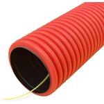 Труба гофрированная двустенная ПНД гибкая тип 450 (SN26) с/з красная д50 (100м/уп) (муфта, 2 кольца) | PR15.0021 | Промрукав
