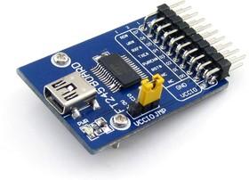 Фото 1/5 FT245 USB FIFO Board (mini), Преобразователь USB-FIFO на базе FT245 с разъемом USB mini-AB