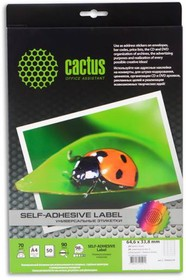 Этикетки CACTUS С-30646338, A4, 50 листов, 33.8x64.6 мм, 24 шт.