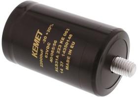 Фото 1/3 ALS31A223KE063, 22000µF Electrolytic Capacitor 63V dc, Screw Mount -