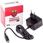 Фото 3/4 Official Raspberry Pi 4 Power Supply Black, Блок питания для Raspberry Pi 4, 5.1В, 3A, USB-C (вилка EU) блок питания