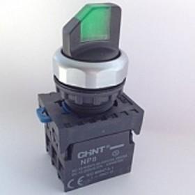 NP8-11XD/213 110-230VAC, Переключатель двухпозиционный зеленый с подсветкой OFF-ON/ON-OFF