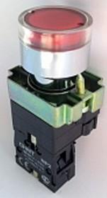 NP2-EW3465 230V LED, Кнопка без фиксации красная с подсветкой ON-(OFF)/OFF-(ON) пласт.
