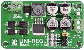 Фото 1/4 MIKROE-482, UNI-REG Board, Встраиваемый стабилизатор напряжения, Uвх=7-23VAC/9-32VDC, Uвых=5В/4В/3.3В/2.7В/1.8В