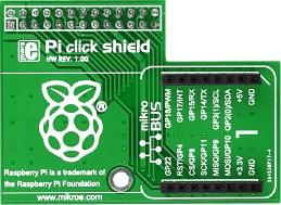 Фото 1/5 MIKROE-1513, Pi click shield - connectors soldered, Плата расширения для подключения модулей mikroElektronika серии click (mikroBUS) к Raspb