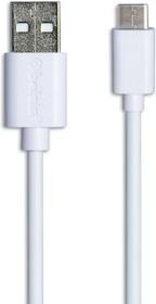 BS3216, Кабель USB 2.0 А вилка - USB Type C вилка, быстрая зарядка,1м, белый