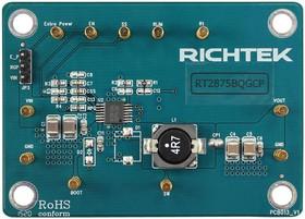 EVB_RT2875BQGCP, Evaluation Board, RT2875B DC/DC Converter, 3.3V, 3A Output, 4.5V To 36V Input