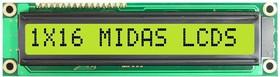 MC11608A6W1-SPTLY, Буквенно-цифровой ЖКД, 16 x 1, Черный на Желтом / Зеленом, 5В, Параллельный, Английский, Японский