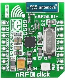Фото 1/4 MIKROE-1304, nRF C click, Радиомодуль (приемопередатчик) 2.4ГГц, скорость передачи 250кбит, 1Мбит, 2Мбит