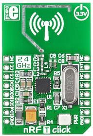 Фото 1/4 MIKROE-1305, nRF T click, Радиомодуль (приемопередатчик) 2.4ГГц, скорость передачи 250кбит, 1Мбит, 2Мбит
