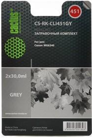 Заправочный комплект CACTUS CS-RK-CLI451GY, для Canon, 60мл, серый
