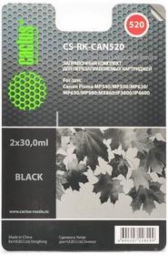 Заправочный комплект CACTUS CS-RK-CAN520, для Canon, 60мл, черный