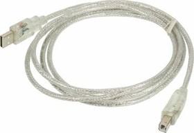 Кабель USB2.0 NINGBO USB A (m) - USB B (m), 1.8м, с подсветкой, блистер, прозрачный