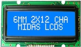 MC21205A6W1-BNMLW, Буквенно-цифровой ЖКД, 12 x 2, Белый на Черном, 5В, Параллельный, Английский, Японский, Передающий