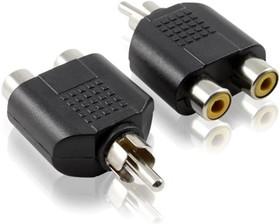 GC-AVA11, Переходник-разветвитель аудио RCA/RCA 2, AM/AF, Greenconnect, черный