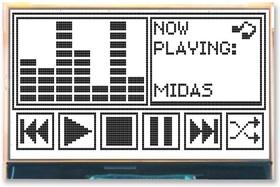 MCCOG240128A6W-FPTLW, Графический ЖК-дисплей, 240 x 128, Черный на Белом, 3В, Параллельный, SPI, Без Шрифта