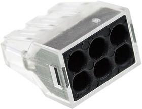 XY608-6P, электромонтажная клемма 6 контактов 400В/24А 22-14AWG (аналог 773-326)