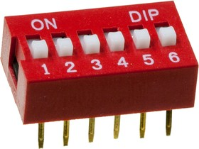 DP-06 (SWD3-6) DIP-переключатель 6 пол. PIANO красн.