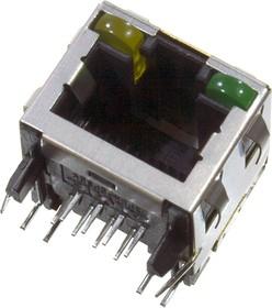 2-406549-1, гнездо на плату RJ45 Cat5 светод. зел/желт.