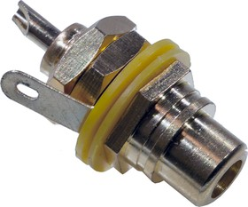 "1-291G,(RS-115G), Раз.RCA ""гн"" мет.""позол.""с изолятором на корпус,жел"