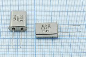 кварцевый резонатор 1.8432МГц в корпусе HC49U, нагрузка 20пФ, 1843,2 \HC49U\20\ 30\\49U[SDE]\1Г (SDE 20PF)