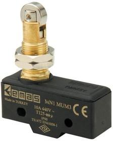 MN1MUM3, Микропереключатель 10А 440VAC с плунжером