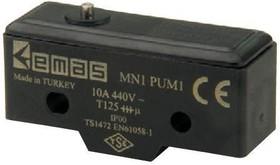 MN1PUM1, Микропереключатель 10А 440VAC без лапки