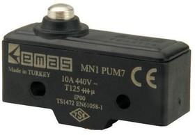 MN1PUM7, Микропереключатель 10А 440VAC с плунжером