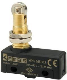 MN2MUM3,  Микропереключатель 10А 440VAC с плунжером