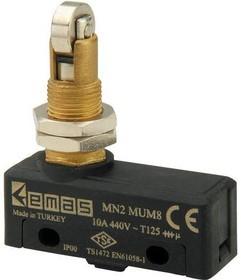 MN2MUM8, Микропереключатель 10А 440VAC с плунжером