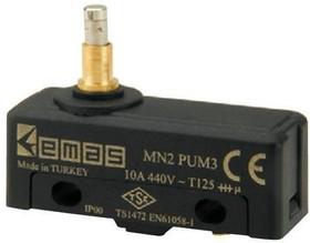 MN2PUM3, Микропереключатель 10А 440VAC с плунжером