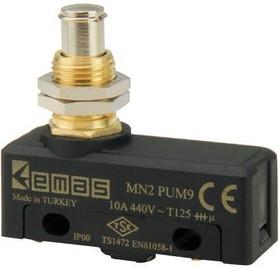 MN2PUM9, Микропереключатель 10А 440VAC с плунжером на панель