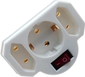 SA 1/3-ZDV, Тройник с выключателем, с заземлением, белый