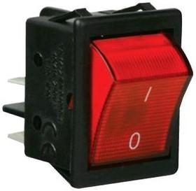A14K, Переключатель красный с подсветкой ON-OFF (16A/250VAC) 4P