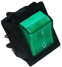 A14Y, Переключатель зеленый с подсветкой ON-OFF (16A/250VAC) 4P