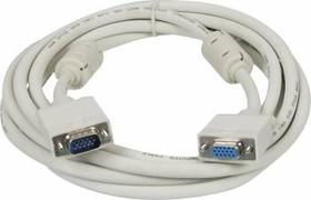 Кабель-удлинитель SVGA NINGBO VGA HD15 (m) - VGA HD15 (f), ферритовый фильтр , 3м, серый