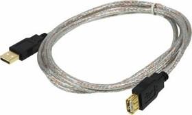 Кабель-удлинитель USB2.0 NINGBO USB A (m) - USB A (f), GOLD , 1.8м, прозрачный