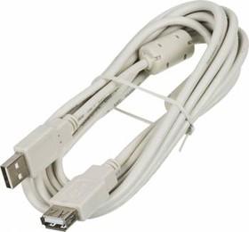 Кабель-удлинитель USB2.0 NINGBO USB A (m) - USB A (f) ферритовый фильтр 3м, блистер