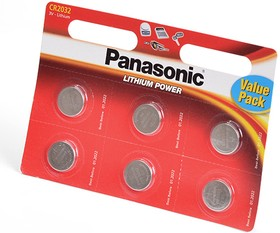 Panasonic Lithium Power CR-2032EL/6BW CR2032 BL6, Элемент питания