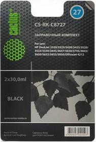 Заправочный комплект CACTUS CS-RK-C8727, для HP, 60мл, черный