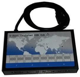 HUB-400i-ISO, Изолированный 4-портовый концентратор USB, металлический корпус (-40°С ~ +70°C)