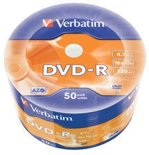 Оптический диск DVD-R VERBATIM 4.7Гб 16x, 50шт., 43731, cake box