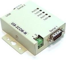 Фото 1/4 USB-2COM-M, 2-портовый преобразователь USB в RS-232, крепление на DIN-рейку